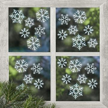White Snowflake Window Stickers